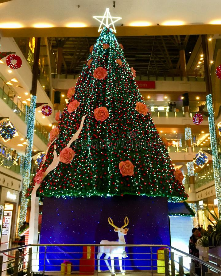 在平安夜美妙地装饰的巨大的圣诞树 图库摄影