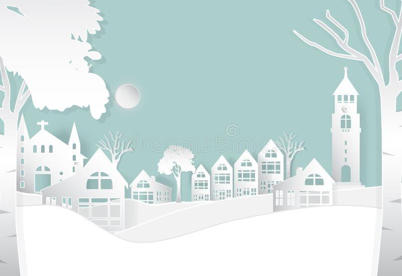 在平安的冬天城市,自然背景,纸艺术样式 向量例证