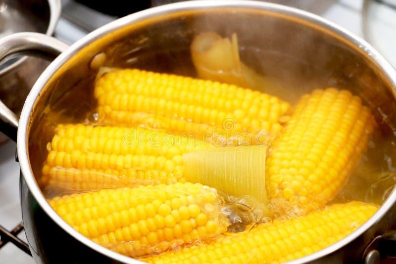 在平底深锅的黄色玉米炖煮的食物 调味的晚餐 免版税库存图片
