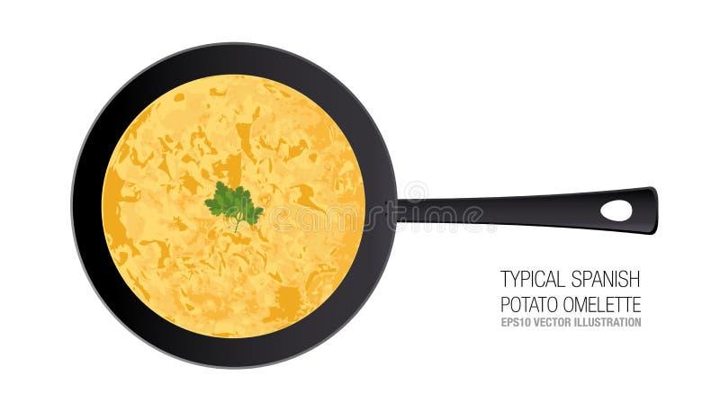 在平底锅的典型的西班牙土豆煎蛋卷 装饰品荷兰芹 皇族释放例证