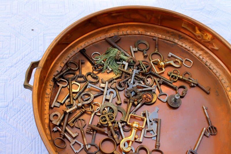 在平底锅的老钥匙 免版税库存图片