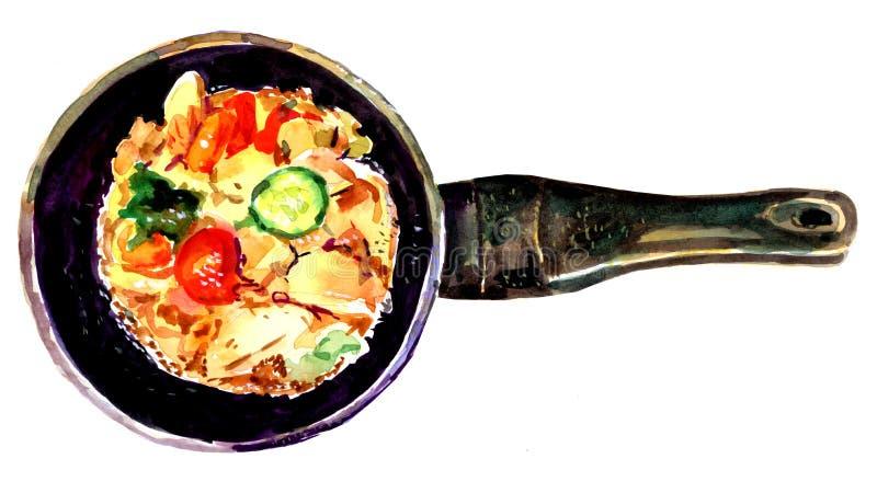 在平板炉的水彩菜 免版税库存照片