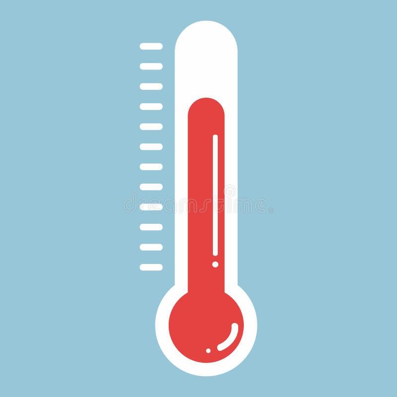 在平的样式和温度计象,医疗thermom的温度计 向量例证