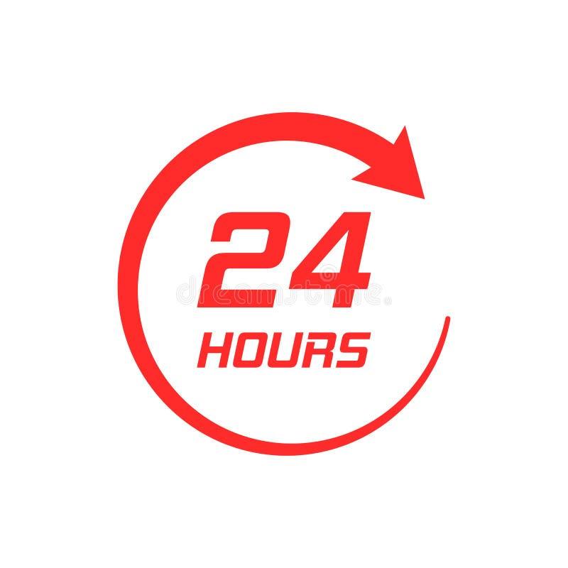 在平的样式的二十四个小时时钟象 24/7工作次数不适 向量例证