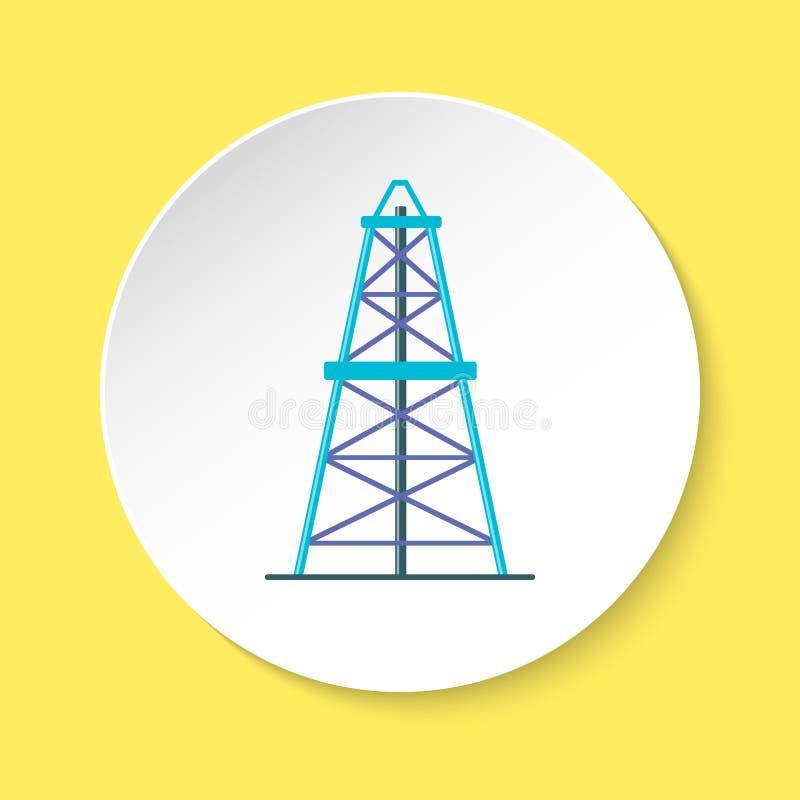 在平的样式的井架象在圆的按钮 向量例证