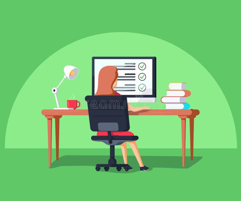 在平的样式的传染媒介例证 坐在计算机的妇女 外包遥远地工作的项目负责人 库存例证