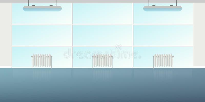 在平的样式的传染媒介现代顶楼办公室内部空的场面 皇族释放例证