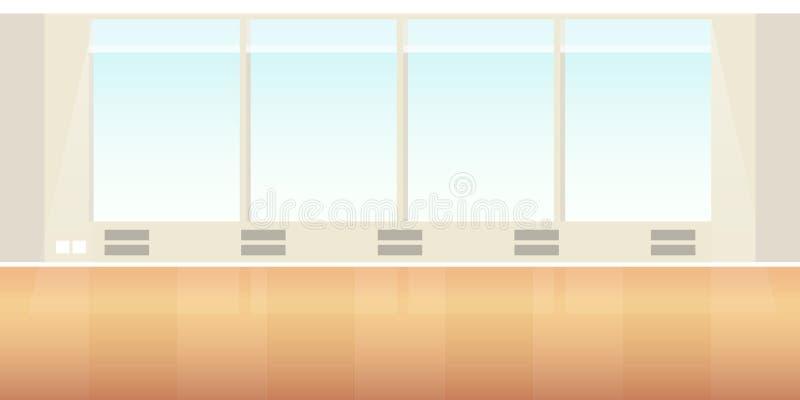 在平的样式的传染媒介现代顶楼办公室或教室内部空的场面 皇族释放例证