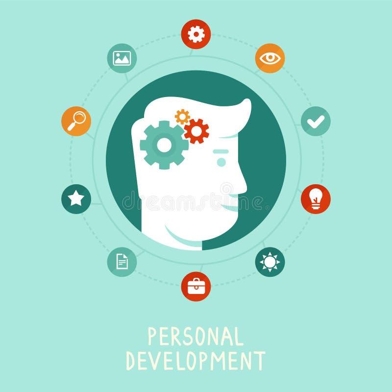 在平的样式的传染媒介个人发展概念 库存例证