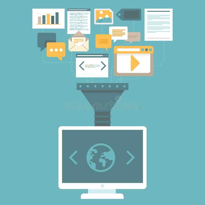 在平的样式的传染媒介数字式营销概念 向量例证