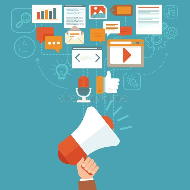 在平的样式的传染媒介数字式营销概念 库存例证