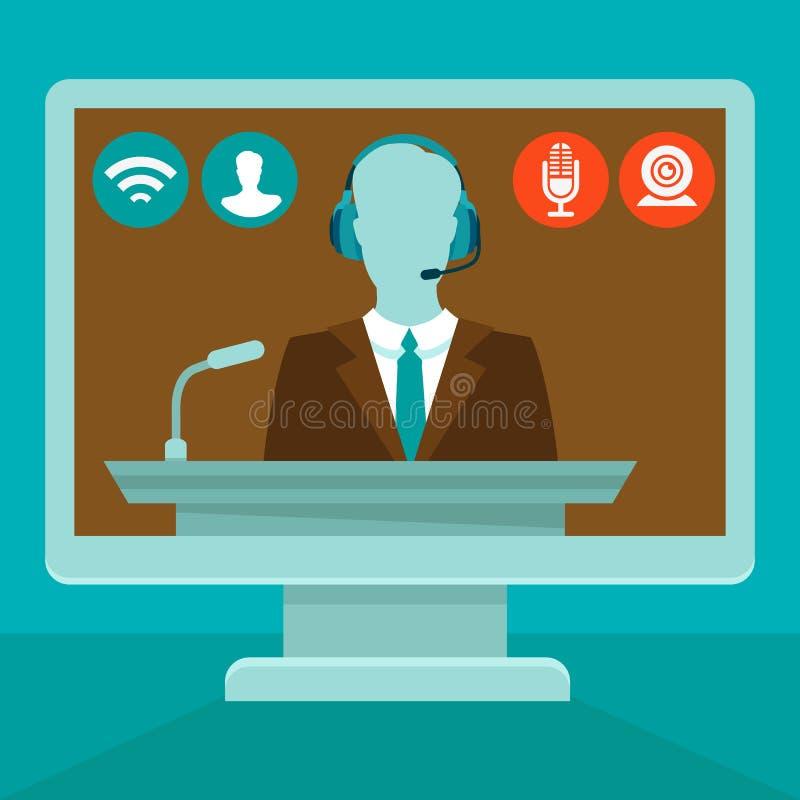 在平的样式的传染媒介网上会议概念 向量例证