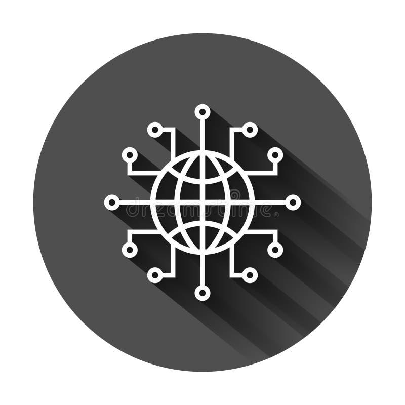 在平的样式的全球网络象 网络世界在黑圆的背景的传染媒介例证与长的阴影 地球事务 向量例证