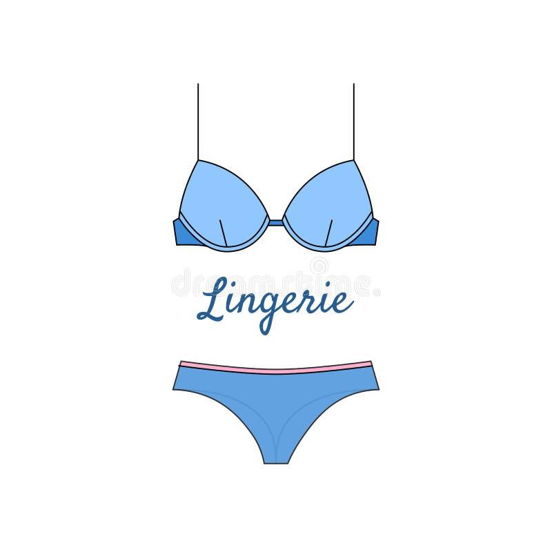 在平的样式的典雅的蓝色女用贴身内衣裤象 库存例证