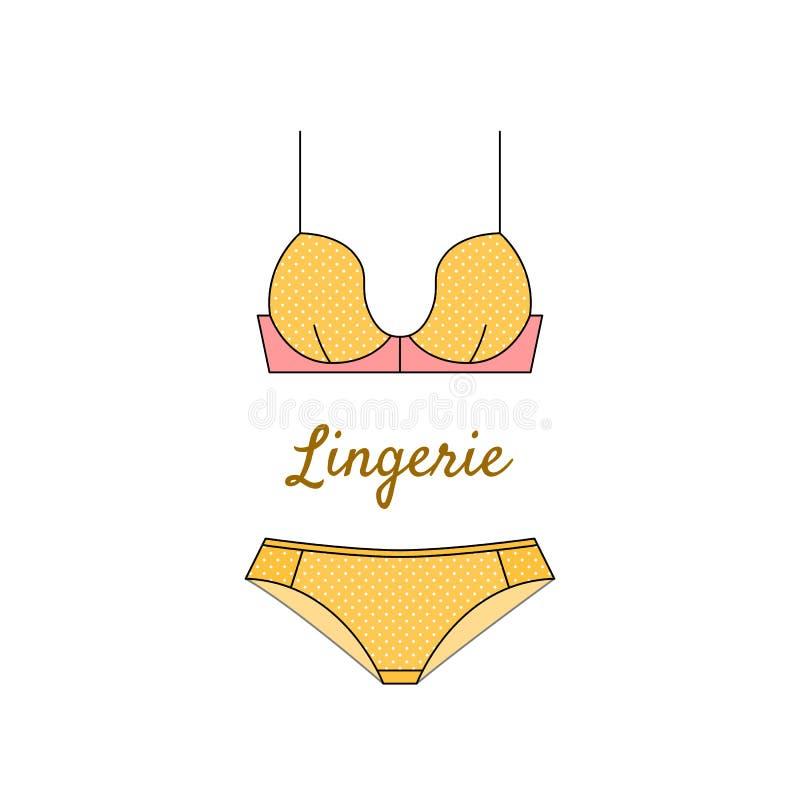 在平的样式的典雅的黄色女用贴身内衣裤象 库存例证