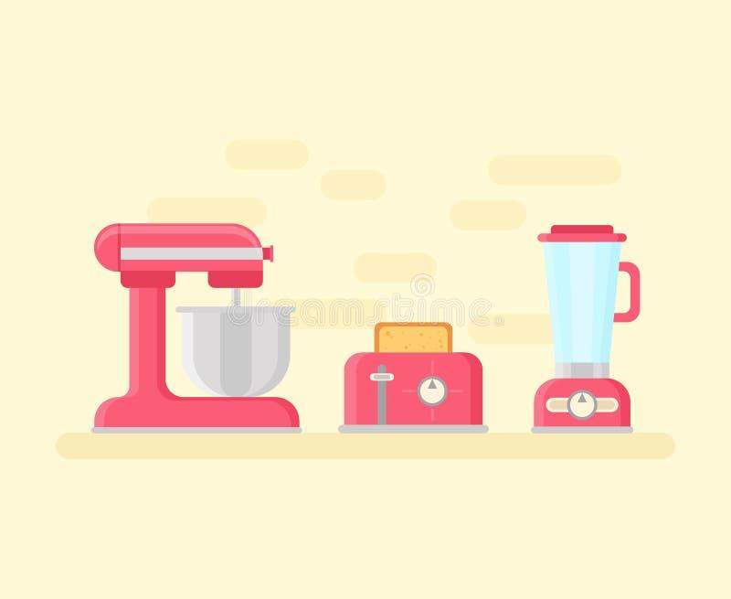 在平的样式的减速火箭的厨房设备 库存例证