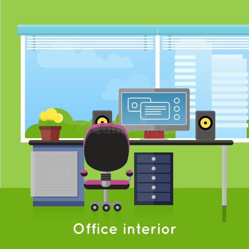 在平的样式的办公室内部 现代工作区 库存例证