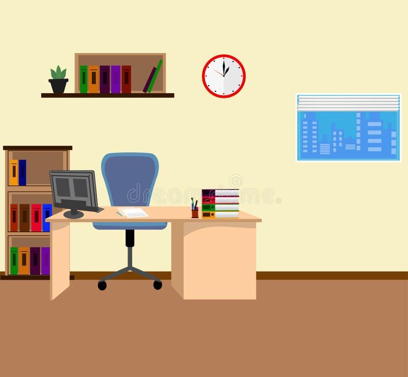 在平的样式的办公室内部 库存例证