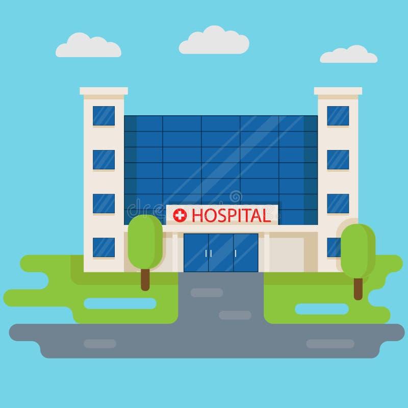 在平的样式的医院大厦 医疗概念 医学诊所在蓝色背景隔绝的正面设计 库存例证