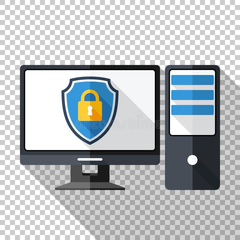 在平的样式的台式电脑象与在一个屏幕上的防护盾在透明背景 向量例证