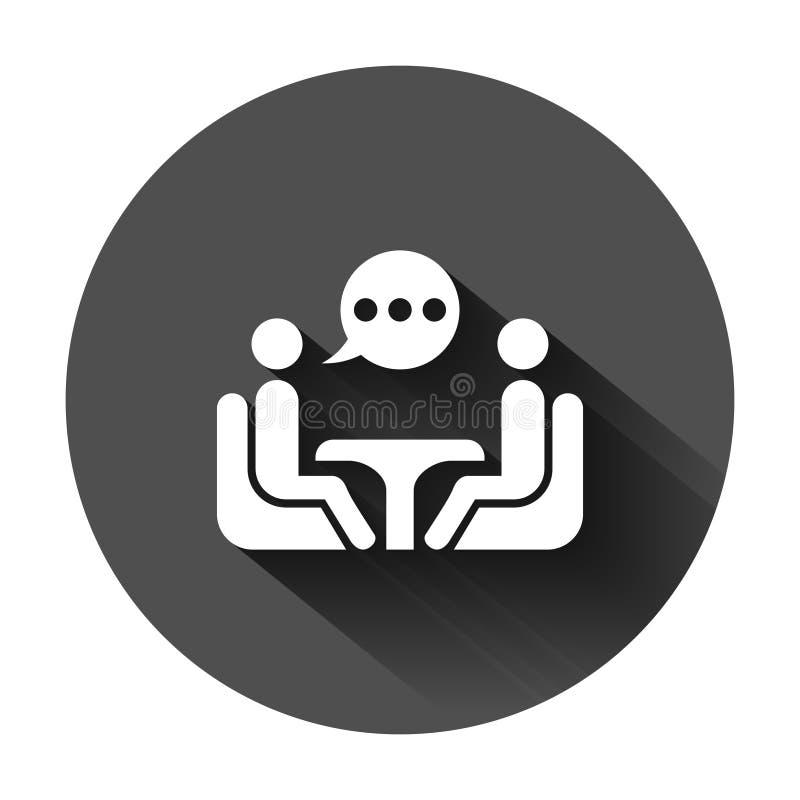 在平的样式的商务咨询象 有桌传染媒介例证的两人在与长的阴影的黑圆的背景 向量例证