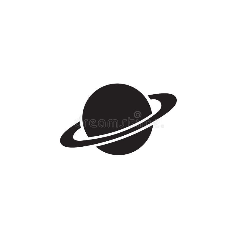 在平的样式的土星象 在白色被隔绝的背景的行星传染媒介 星系空间企业概念 向量例证