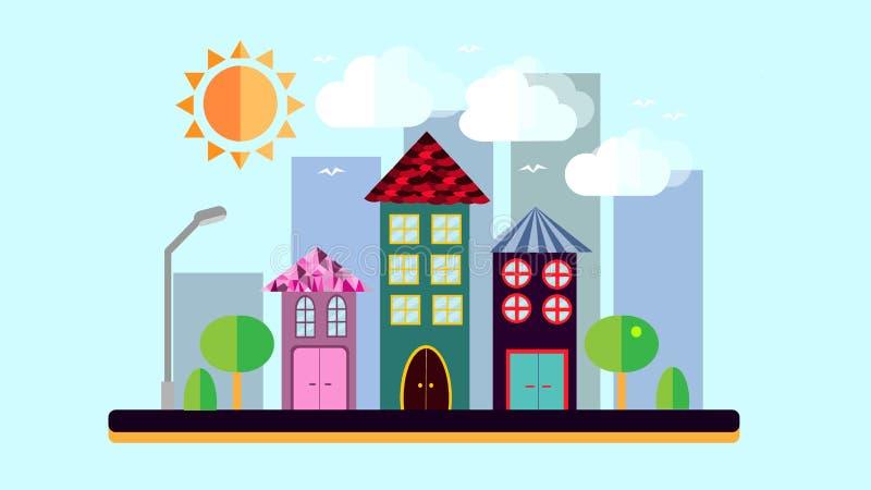 在平的样式的城市风景 有房子的一个城市有一个倾斜的屋顶和各种各样的美丽的异常的瓦片的有太阳shinin的灯笼的 向量例证