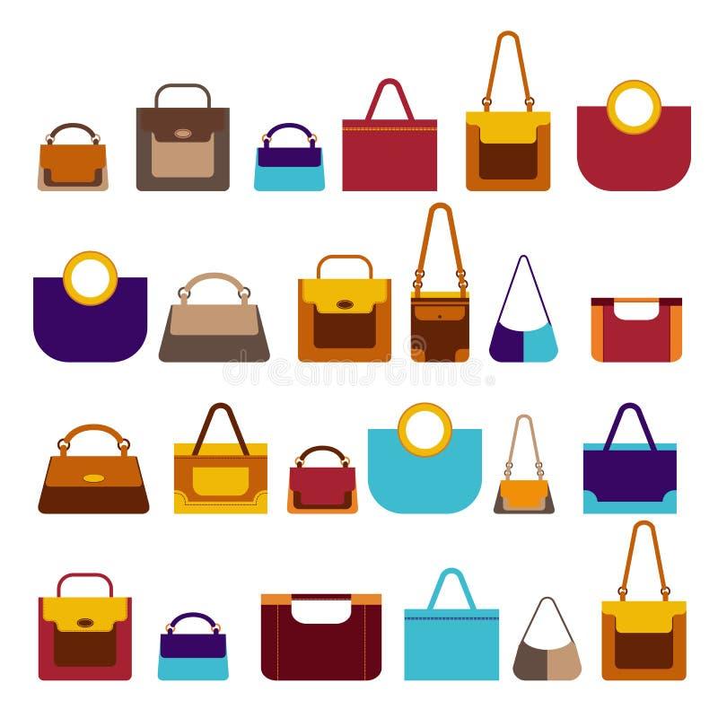 在平的样式的大集合妇女袋子 向量例证