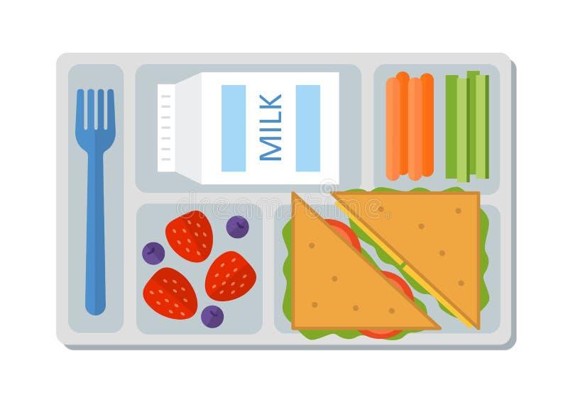 在平的样式的学校午餐 库存图片