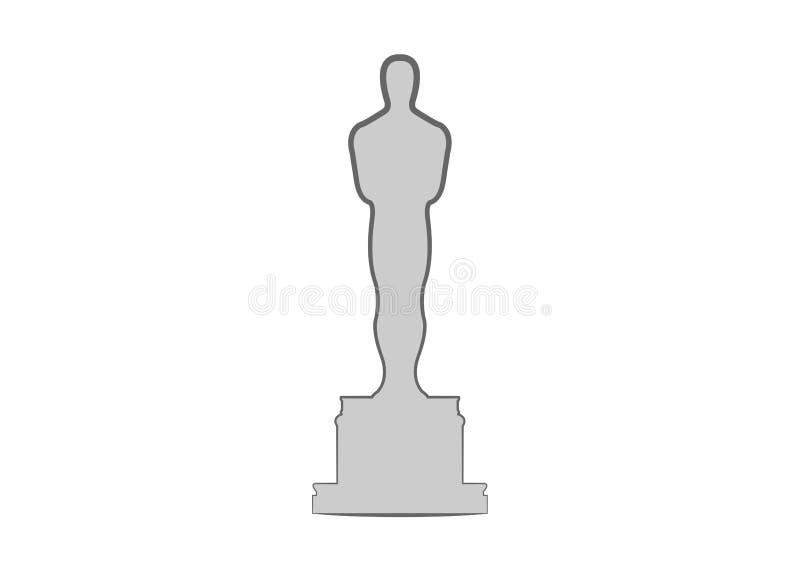 在平的样式的学院奖象被隔绝的 剪影雕象象 影片和戏院标志股票例证 向量例证