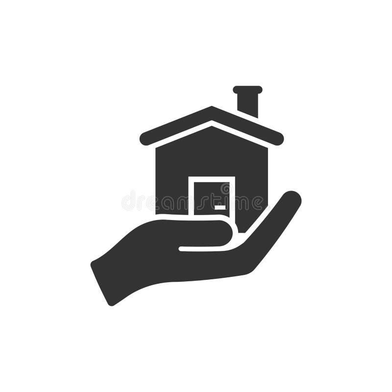 在平的样式的家庭护理象 手举行房子在白色被隔绝的背景的传染媒介例证 修造的质量企业概念 向量例证