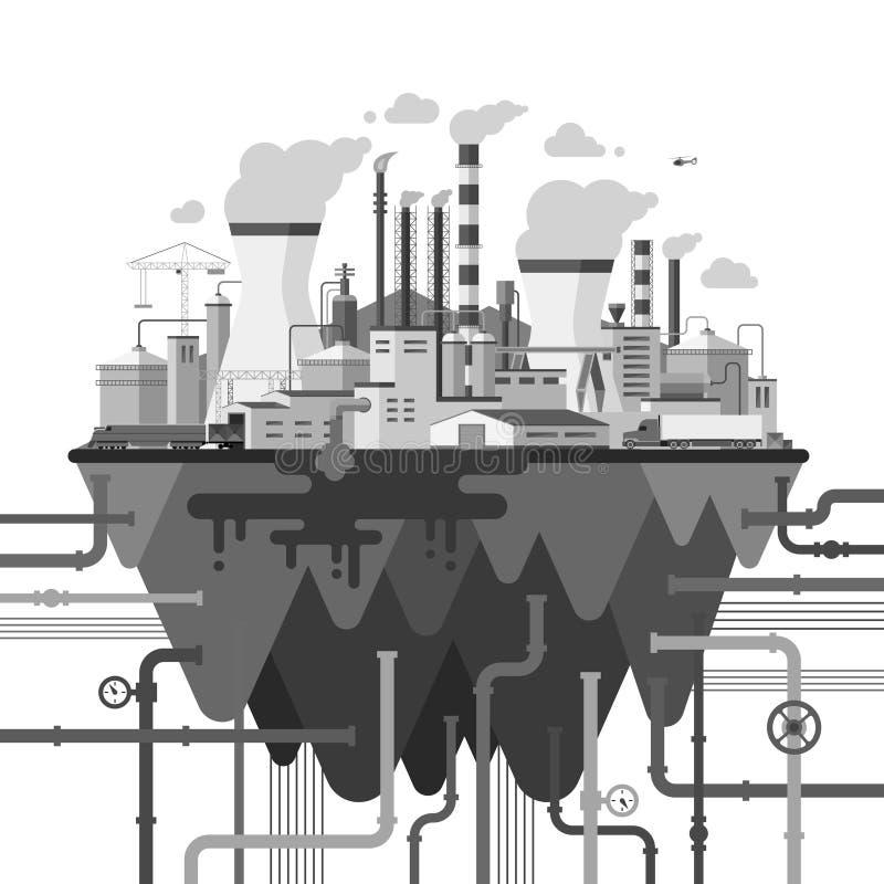 在平的样式的工业风景例证 向量例证