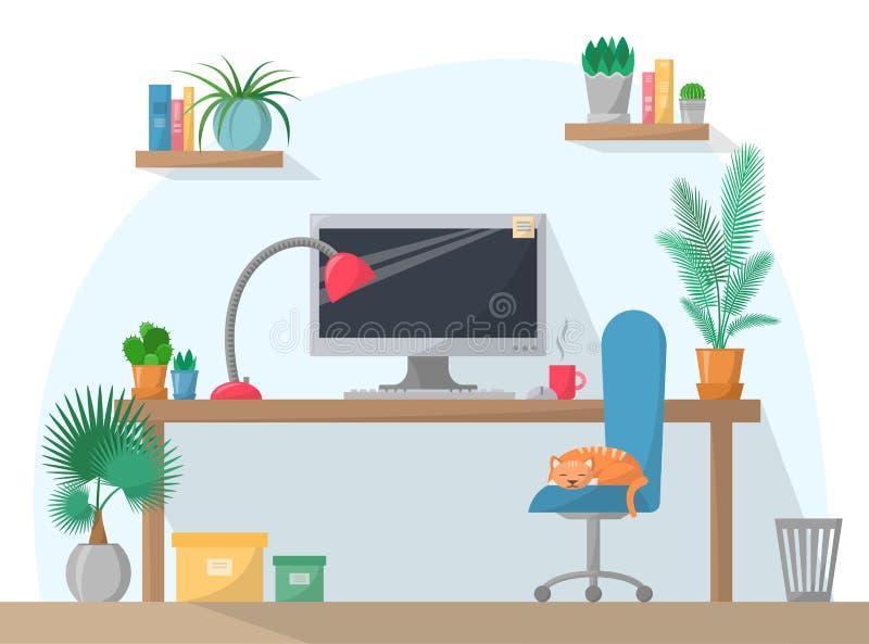 在平的样式的工作场所例证,在工作表上的计算机与椅子,灯,杯子,与书,家庭植物的架子 库存例证