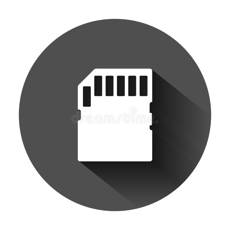 在平的样式的微SD卡片象 存储芯片在黑圆的背景的传染媒介例证与长的阴影 存贮适配器 向量例证