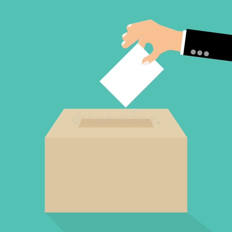 在平的样式的投票的概念-递投入纸在选票 库存例证