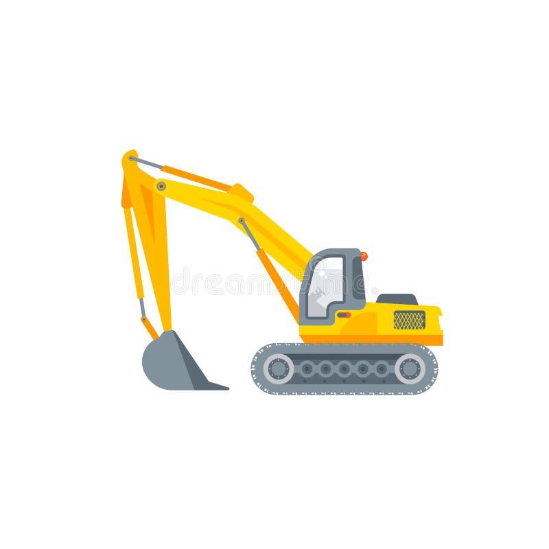在平的样式的挖泥机例证侧视图 皇族释放例证