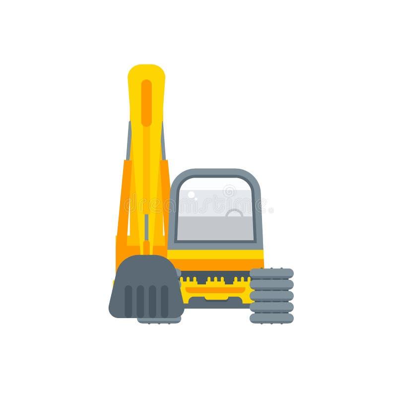 在平的样式的掘泥机例证正面图 库存例证