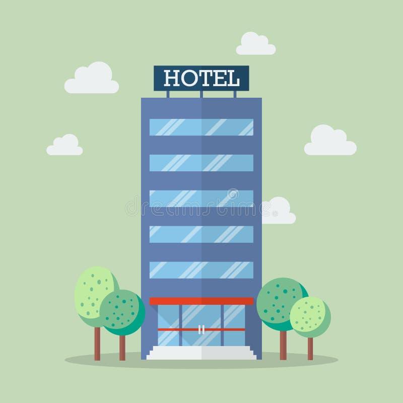 在平的样式的旅馆大厦 向量例证