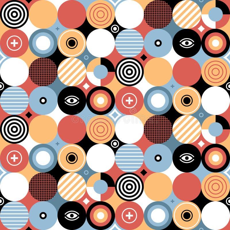 在平的样式的无缝的几何样式与五颜六色的圈子图片