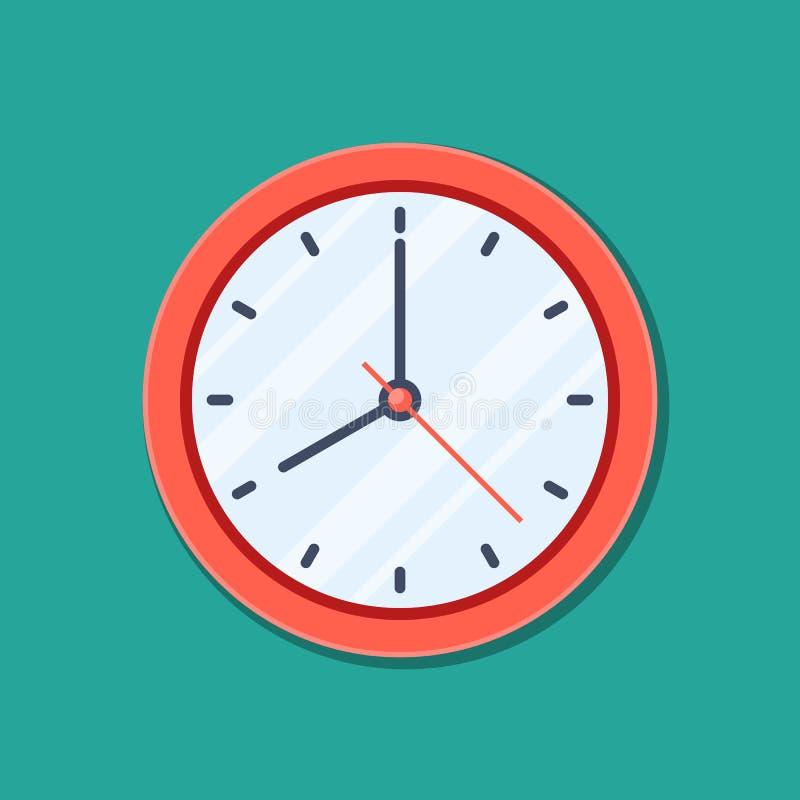 在平的样式的时钟象,在绿色背景隔绝的定时器 企业手表 传染媒介您的设计元素项目 库存例证