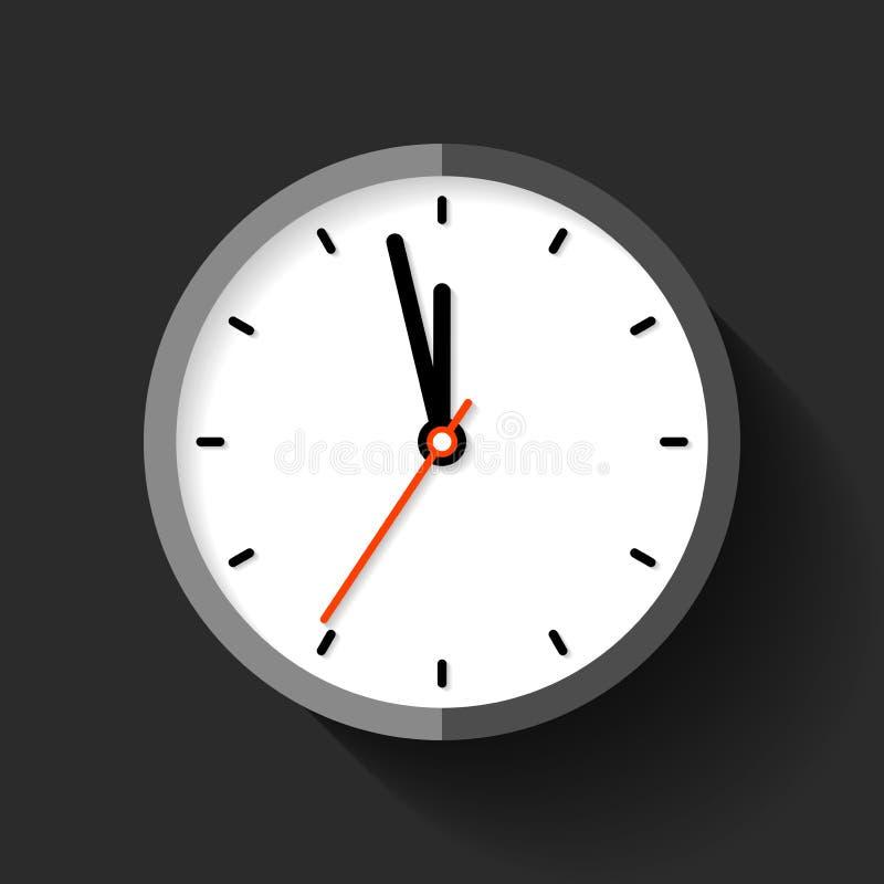 在平的样式的时钟象,在黑背景的圆的定时器 五分钟到十二 简单的手表 传染媒介您的设计元素公共汽车 皇族释放例证