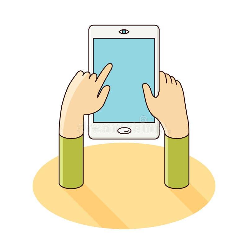 Download 在平的样式的智能手机手中传染媒介例证 向量例证. 插画 包括有 影子, 设计, 移动, 屏幕, 推进, 向量 - 62535432