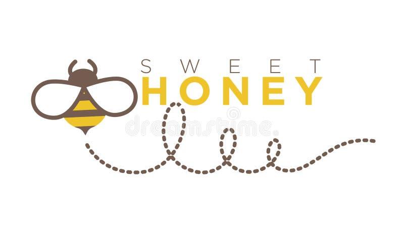 在平的样式的有机美好的蜂蜜商标设计 也corel凹道例证向量 库存例证