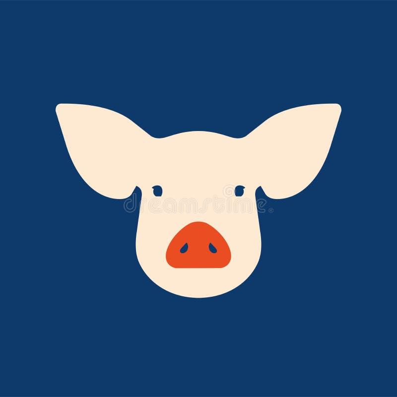 在平的样式的桃红色猪,2019年农历新年的标志 皇族释放例证