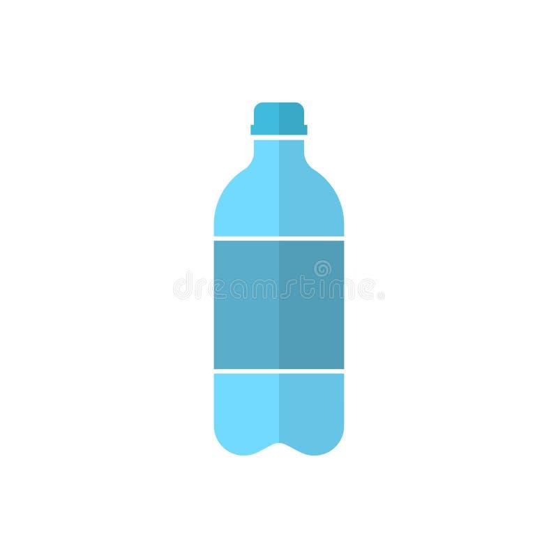 在平的样式的水瓶象 塑料苏打瓶传染媒介illu 向量例证