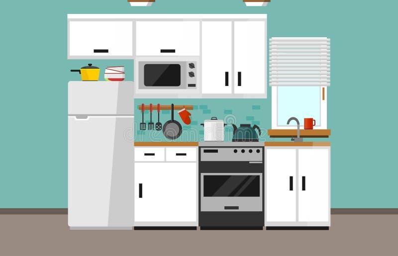 在平的样式的现代厨房例证 与白色门面,微波炉,冰箱,窗口,水槽的动画片白色厨房设计, 库存例证