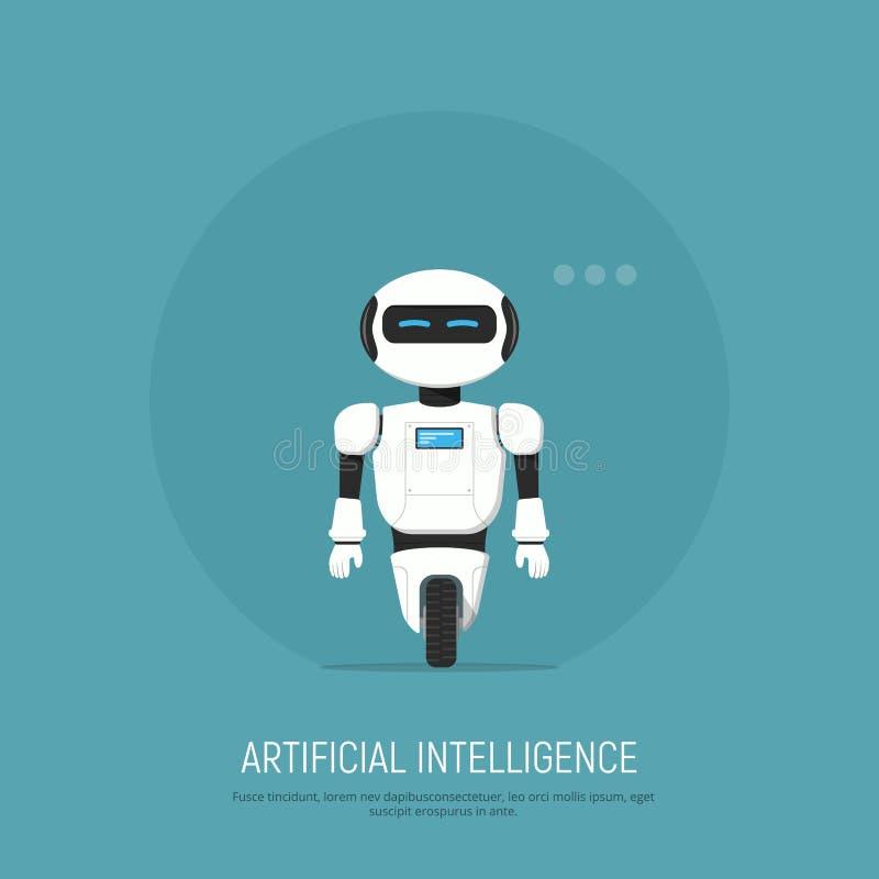在平的样式的现代机器人 概念人工智能 向量例证