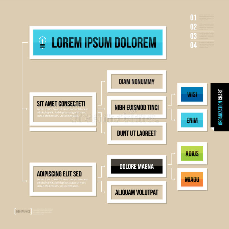 在平的样式的现代组织系统图模板在棕色背景 皇族释放例证