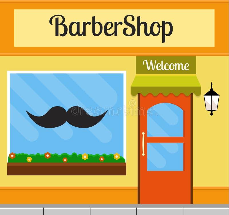 在平的样式的理发店修造的前面 库存例证