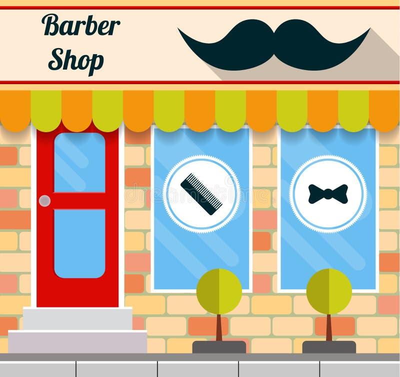 在平的样式的理发店前面 库存例证